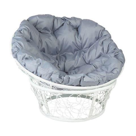 Кресло Papasan, цвет плетения белый, цвет подушки серый