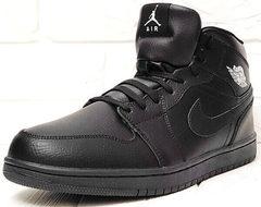 Мужские ботинки зимние кроссовки Nike Air Jordan 1 Retro High Winter BV3802-945 All Black