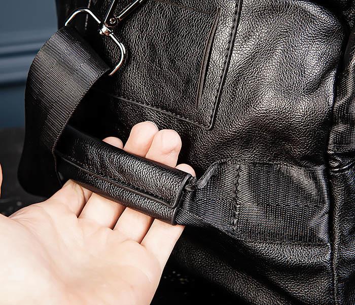 BAG554 Кожаный рюкзак трансформер черного цвета фото 07