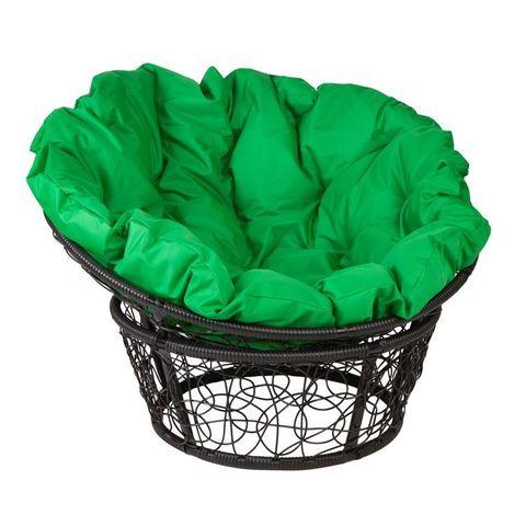 Кресло Papasan, цвет плетения черный, цвет подушки зеленый