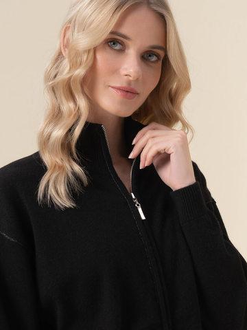 Женский жакет черного цвета на молнии из 100% кашемира - фото 4