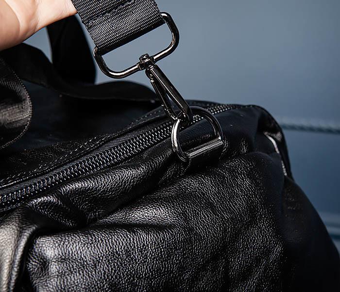 BAG554 Кожаный рюкзак трансформер черного цвета фото 08