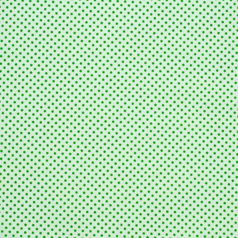Ткань хлопковая зеленые горошки на белом, отрез 50*80 см