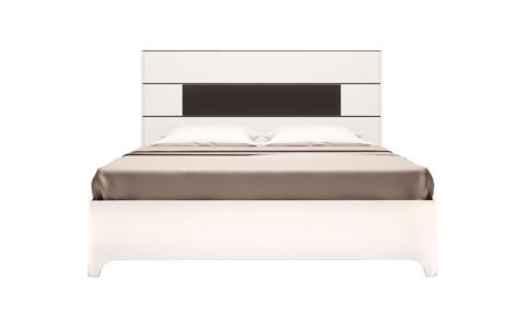 Кровать двойная 160х200 с латами Танго 5 Ижмебель белый/черный матовый