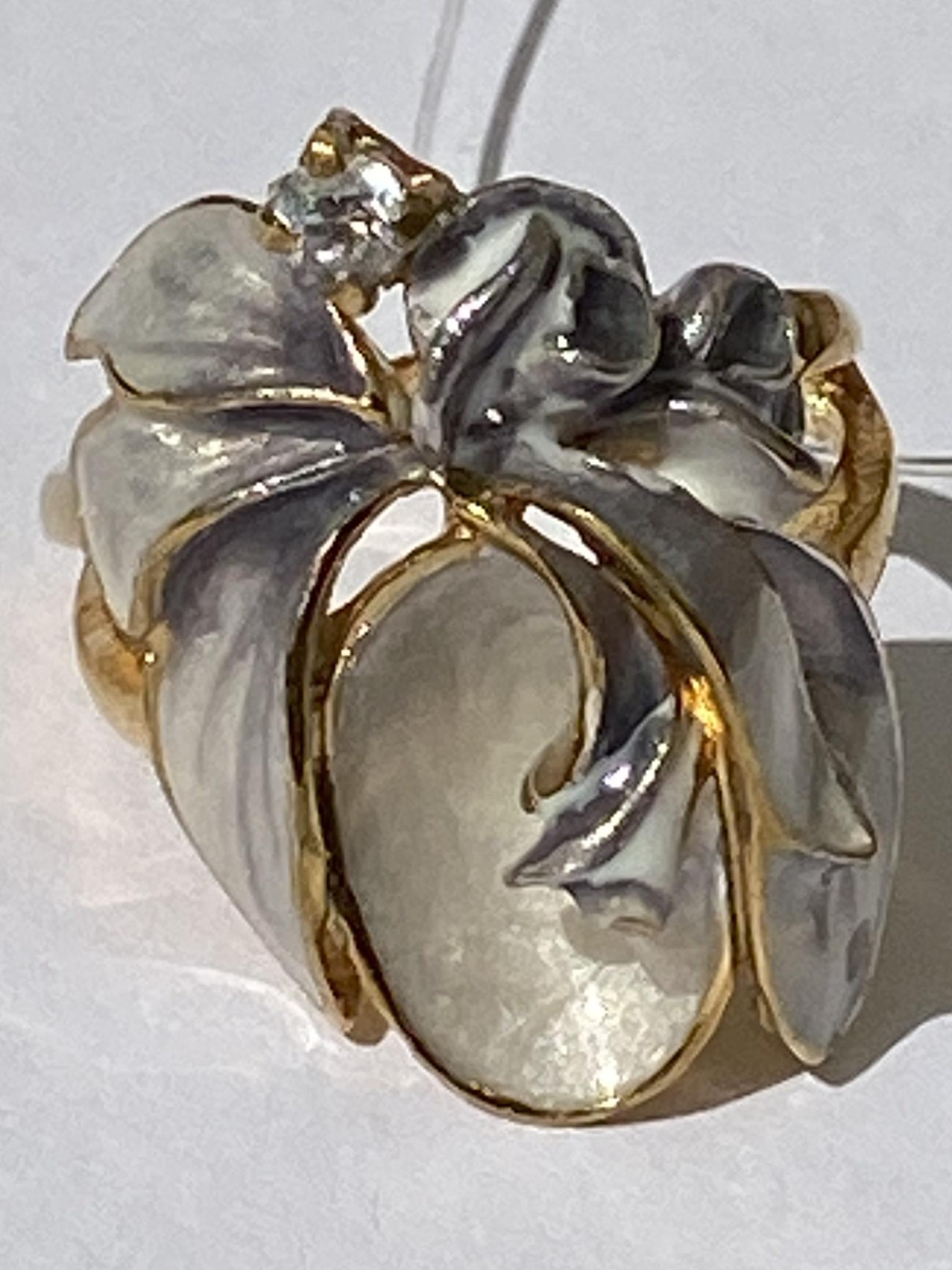 Розовая фантазия (кольцо  из серебра)
