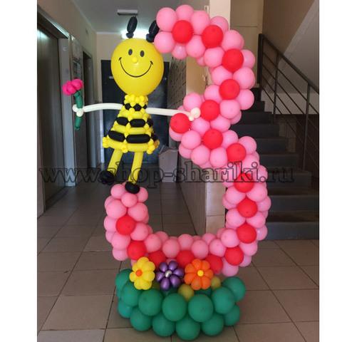 Цифра 3 из шаров с пчёлкой
