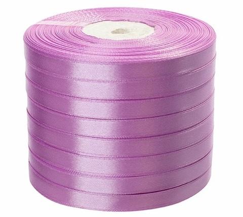 Лента атласная (размер: 10 мм х 50 ярд) Цвет: сиреневая