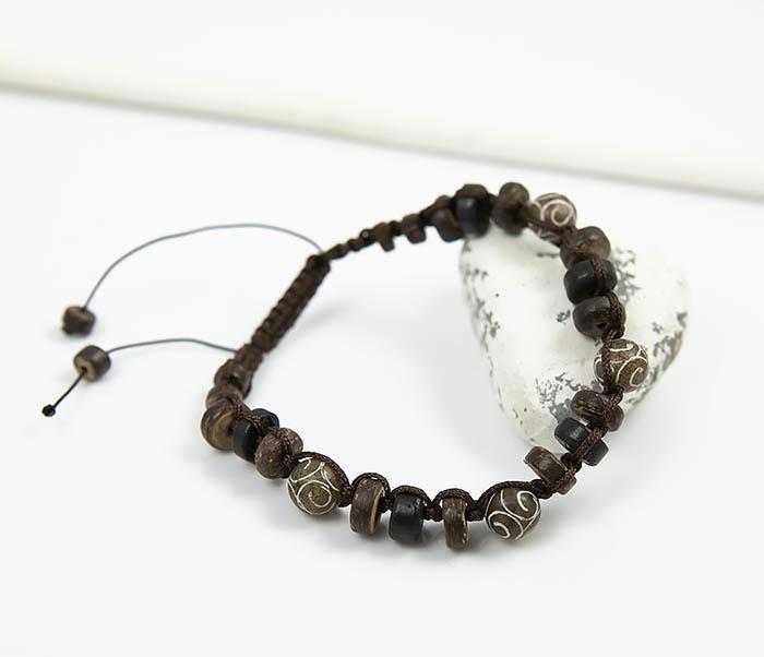 BS804 Мужской браслет из деревянных бусин и камня