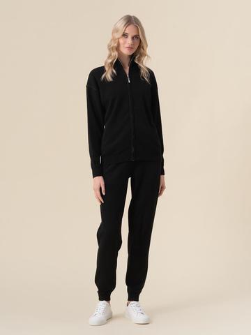 Женский жакет черного цвета на молнии из 100% кашемира - фото 3