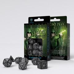 Elvish Black & white Dice Set (7)