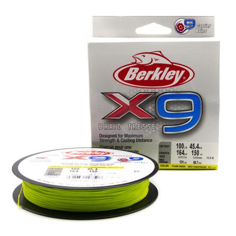 Плетеная леска Berkley X9 150 м. Ярко-зеленая 0,43 мм. 59,7 кг. (1486856)