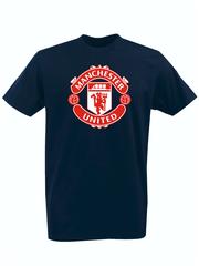 Футболка с принтом FC Manchester United (ФК Манчестер Юнайтед) темно-синяя 001
