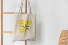 Сумка-шоппер с принтом Цветы (Лилии) бежевая 0010
