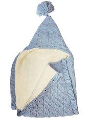 Папитто. Конверт вязаный на пуговицах полушерстяной с подкладкой велсофт, голубой вид 2