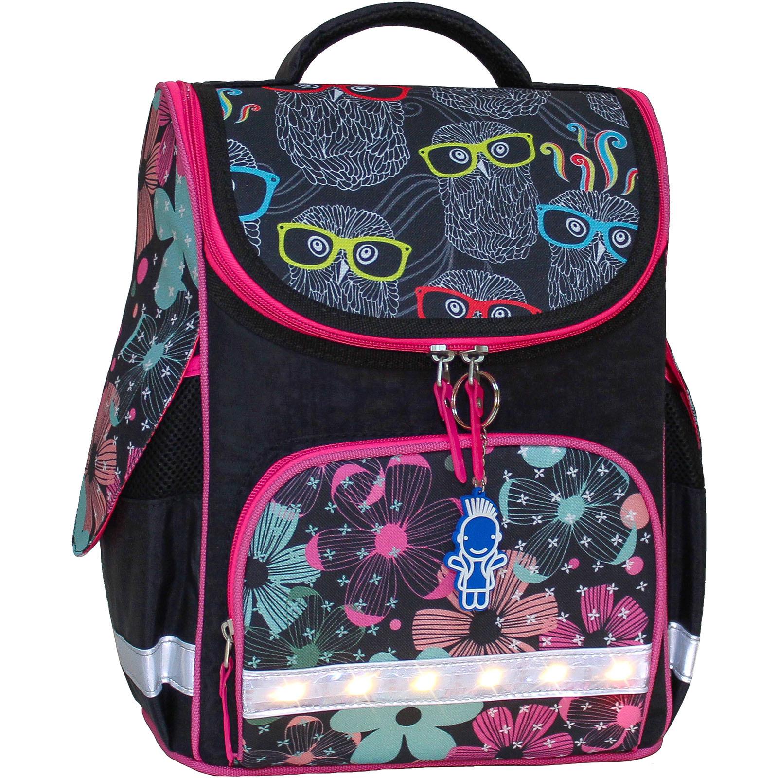 Рюкзак школьный каркасный с фонариками Bagland Успех 12 л. черный 403 (00551703)