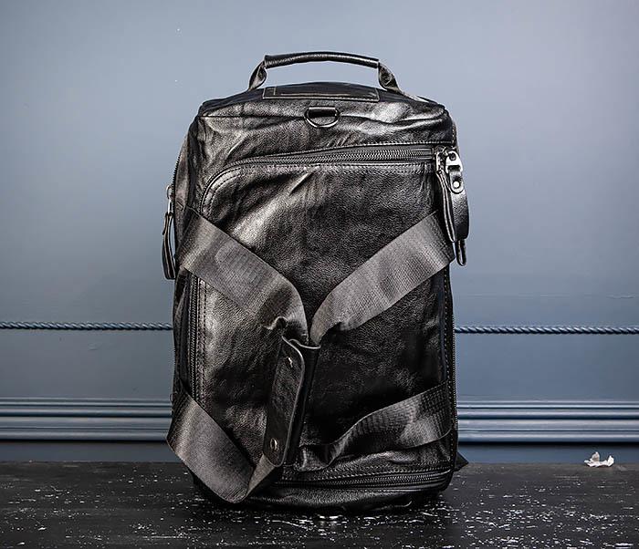 BAG554 Кожаный рюкзак трансформер черного цвета фото 10