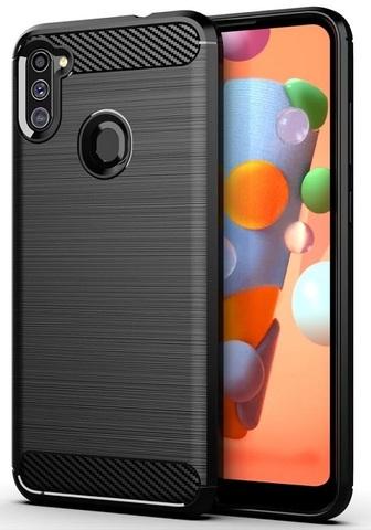 Чехол черного цвета серии Carbon для Samsung Galaxy A11 от Caseport