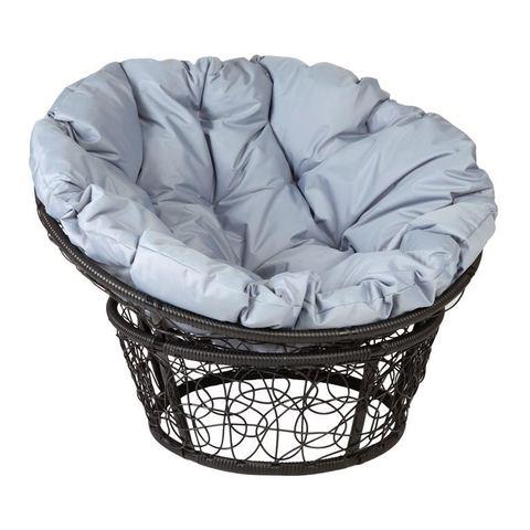 Кресло Papasan, цвет плетения черный, цвет подушки серый