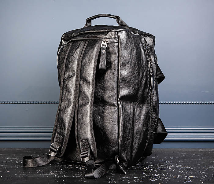 BAG554 Кожаный рюкзак трансформер черного цвета фото 11