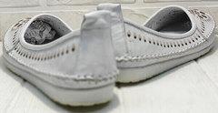 Кожаные мокасины женские туфли на низком ходу Rozen 212 White.