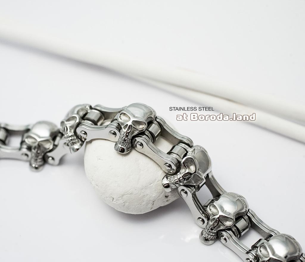 BM281 Массивный мужской браслет с черепами из стали (22 см)