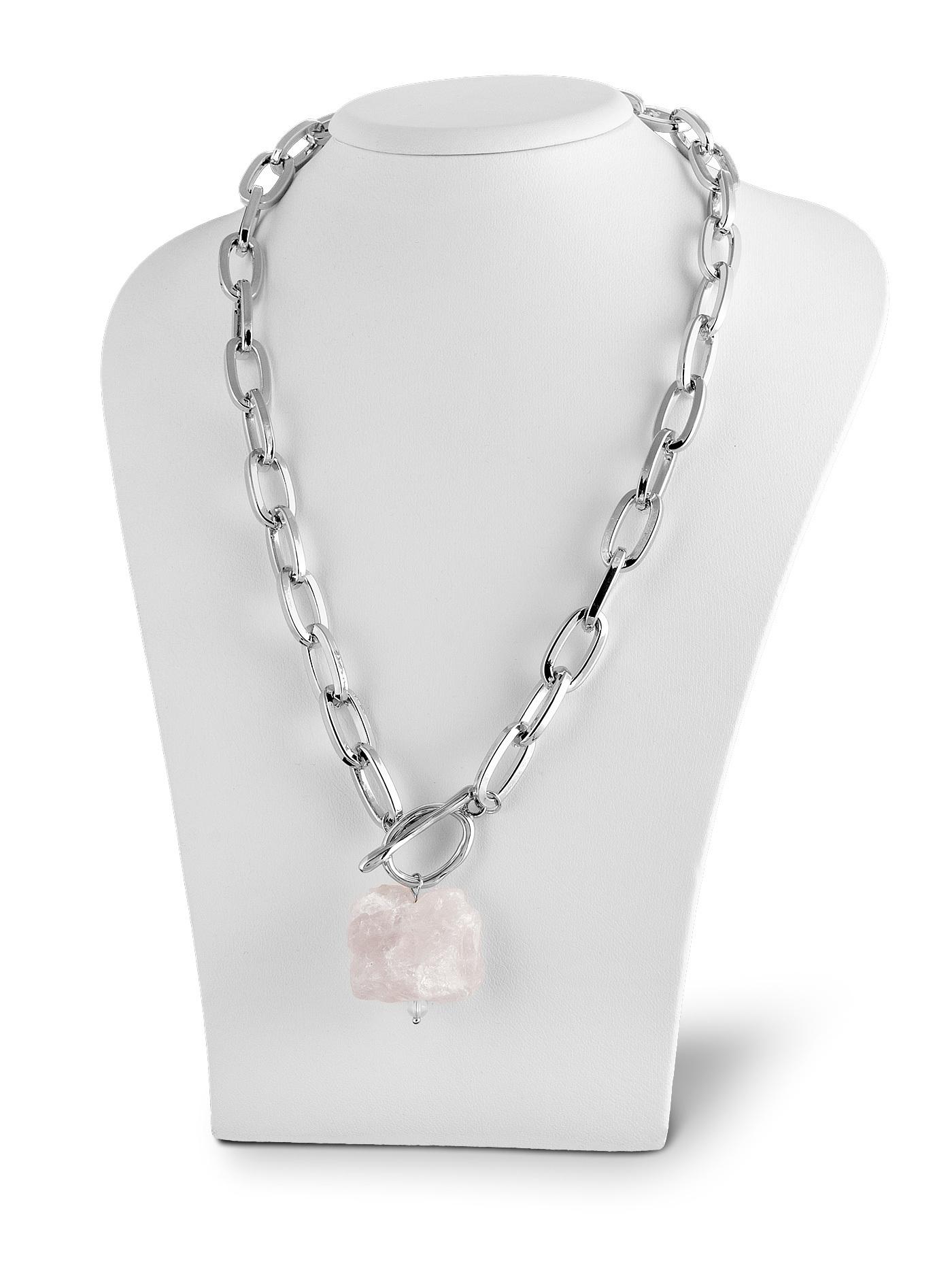 Колье Цепь с розовым кварцем, подарок девушке