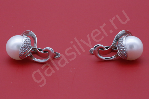 Серьги с жемчугом и фианитами из серебра 925