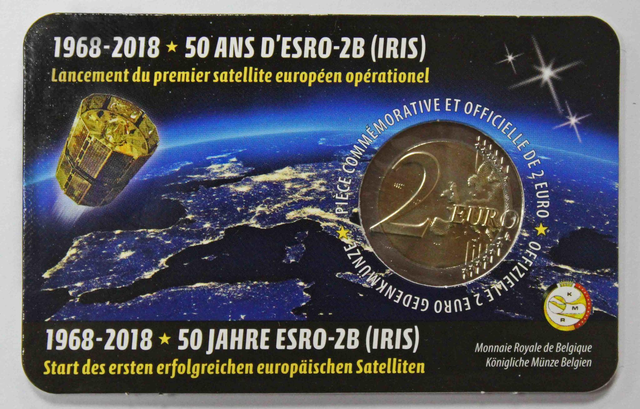 2 евро 2018 Бельгия - 50 лет запуску первого европейского спутника ESRO-2B (в буклете)