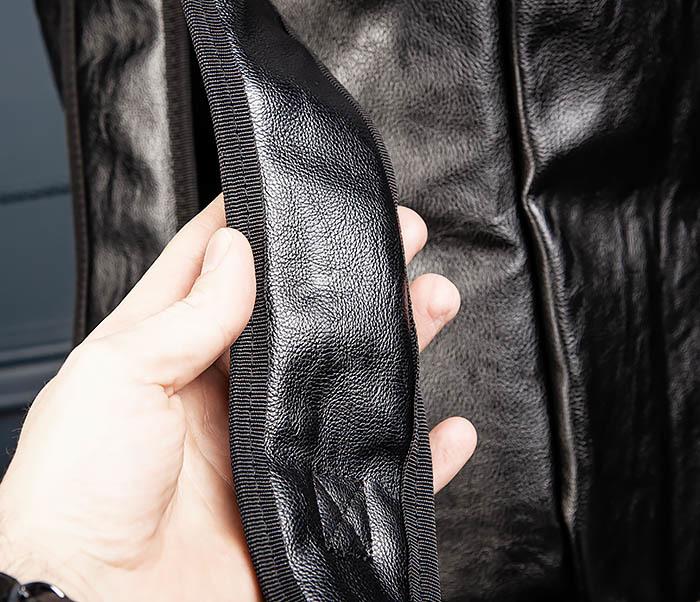 BAG554 Кожаный рюкзак трансформер черного цвета фото 13
