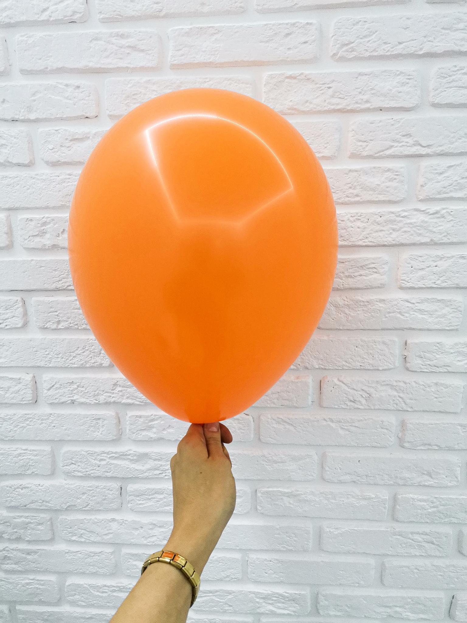№6 Оранжевый Гелиевый шар пастель 30см с обработкой