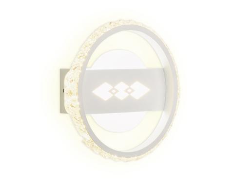 Настенный светодиодный светильник с хрусталем FA221 WH белый LED 6400K+3000K 24W D200*40