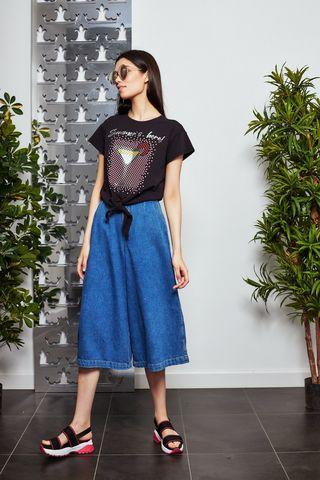 Liu Jo Кюлоты джинсовые с жемчужным поясом