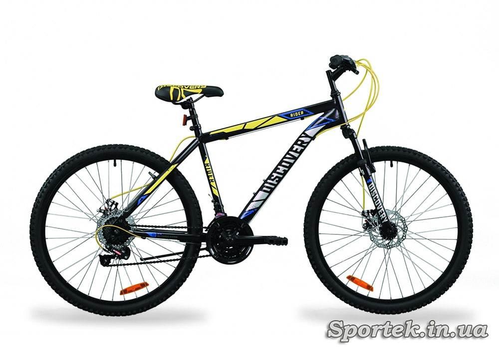 Горный универсальный велосипед Discovery Rider - черно-салатно-серый