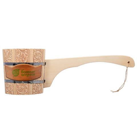 Ковш-черпак Банные штучки 1,5л бондарный с длинной ручкой с орнаментом Цветы