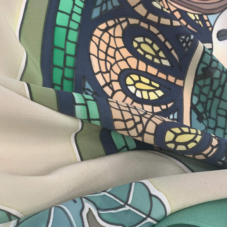 Шелковый платок батик Лавровый венок С-61