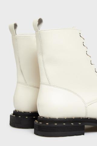 Женские белые кожаные ботинки Nora PRPY