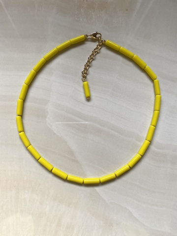 Колье Магнолия из желтого халцедона