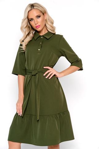 <p>Модное платье свободного кроя для идеального базового гардероба. По низу изделия волан на сборке. Ворот отложной с планкой на пуговицах. Рукав ниже локтя.</p>