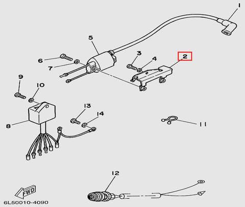 Кронштейн крепления катушки  для лодочного мотора T3 SEA-PRO (9-2)