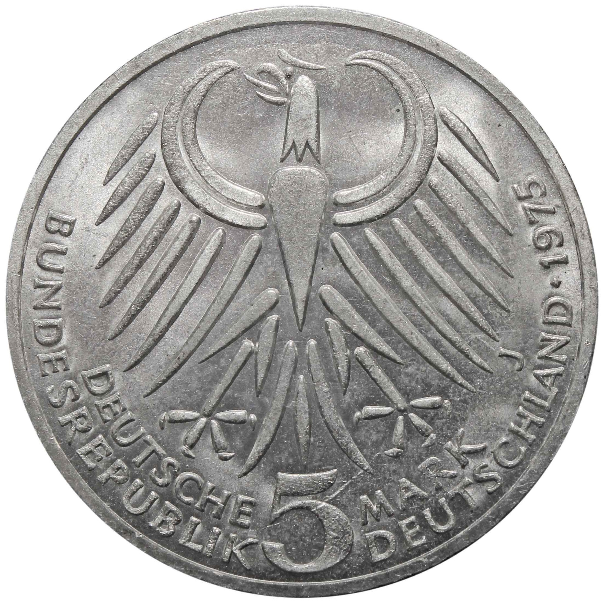 5 марок. 50 лет со дня смерти Фридриха Эберта. Германия. (J). Серебро. 1975 год. AU