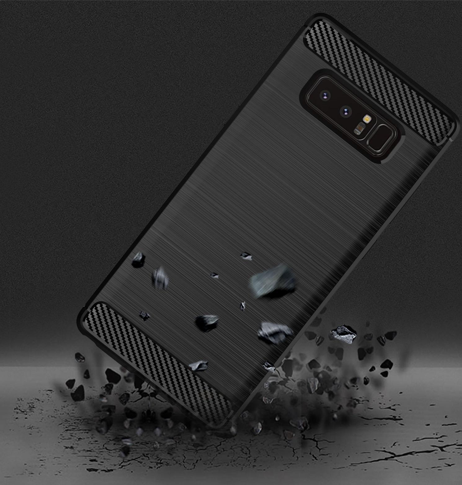 Чехол для Samsung Galaxy Note 8  цвет Gray (серый), серия Carbon от Caseport