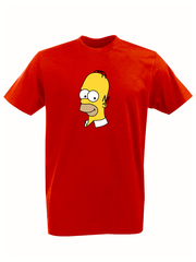 Футболка с принтом мультфильма Симпсоны (The Simpsons) красная 011