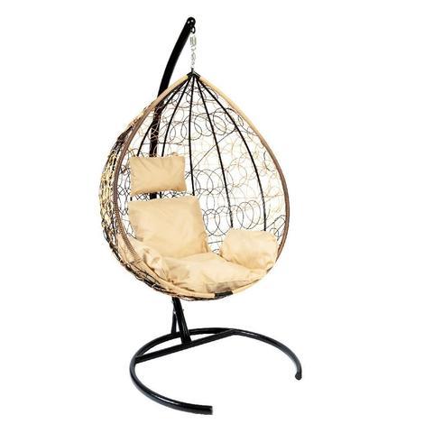Подвесное кресло Z-03 (A) (1), цвет светло-коричневый, подушка – бежевая, каркас – черный