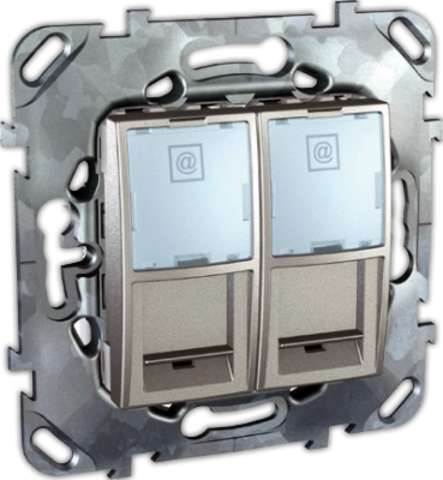 Розетка компьютерная двойная 2хRJ45 кат. 5е. Цвет Алюминий. Schneider electric Unica Top. MGU5.2020.30ZD
