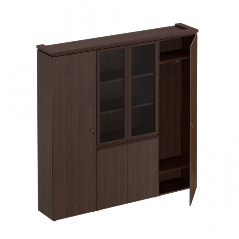 МК 377 ДА Шкаф комбинированный (для документов узкий + со стеклом + для одежды узкий)