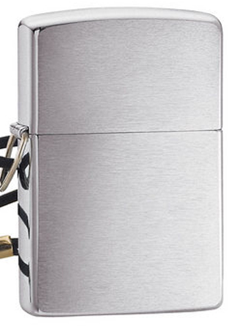 Зажигалка Zippo Lossproof с покрытием Brushed Chrome, со шнурком, латунь/сталь, серебристая, м123