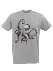 Футболка с принтом Море, Океан, Осьминог (Sea, ocean, octopus) серая 002