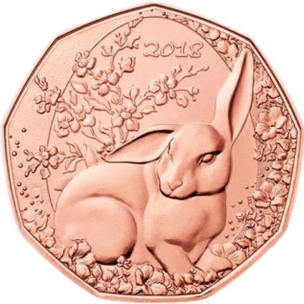 """5 евро Австрия """"Пасхальный кролик"""" 2018 год"""
