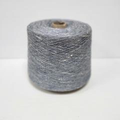 Шёлк 100%, Светлый серо-синий меланж, буретный, 2/26, 1300 м в 100 г