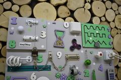 Бизиборд стандарт 50х65 см с ксилофоном Мятно-Фиолетовый универсальный